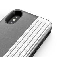 Zizo Retro Series - Etui iPhone X z kieszenią na karty + podstawka + szkło 9H na ekran (Gray/Silver)