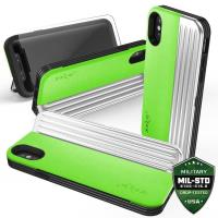 Zizo Retro Series - Etui iPhone X z kieszenią na karty + podstawka + szkło 9H na ekran (Neon Green/Silver)