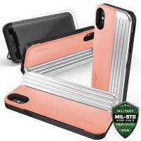 Zizo Retro Series - Etui iPhone X z kieszeniami na karty + podstawka (Peach/Silver)
