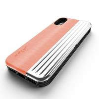 Zizo Retro Series - Etui iPhone X z kieszenią na karty + podstawka + szkło 9H na ekran (Peach/Silver)