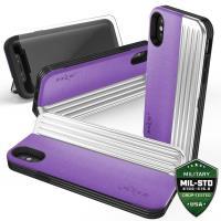 Zizo Retro Series - Etui iPhone X z kieszeniami na karty + podstawka (Purple/Silver)
