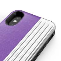 Zizo Retro Series - Etui iPhone X z kieszenią na karty + podstawka + szkło 9H na ekran (Purple/Silver)
