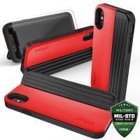 Zizo Retro Series - Etui iPhone X z kieszeniami na karty + podstawka (Red/Black)