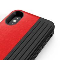 Zizo Retro Series - Etui iPhone X z kieszenią na karty + podstawka + szkło 9H na ekran (Red/Black)