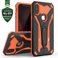 Zizo Static Cover - Pancerne etui iPhone X z podstawką (Black/Orange)
