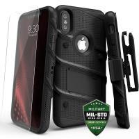 Zizo Bolt Cover - Pancerne etui iPhone X szkłem 9H na ekran + podstawka & uchwyt do paska (Black/Black)