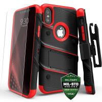 Zizo Bolt Cover - Pancerne etui iPhone X szkłem 9H na ekran + podstawka & uchwyt do paska (Black/Red)