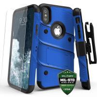Zizo Bolt Cover - Pancerne etui iPhone X szkłem 9H na ekran + podstawka & uchwyt do paska (Blue/Black)