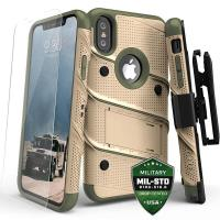 Zizo Bolt Cover - Pancerne etui iPhone X szkłem 9H na ekran + podstawka & uchwyt do paska (Desert Tan/Camo Green)