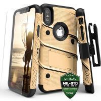 Zizo Bolt Cover - Pancerne etui iPhone X szkłem 9H na ekran + podstawka & uchwyt do paska (Gold/Black)