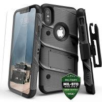 Zizo Bolt Cover - Pancerne etui iPhone X szkłem 9H na ekran + podstawka & uchwyt do paska (Gun Metal Gray)