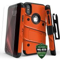 Zizo Bolt Cover - Pancerne etui iPhone X szkłem 9H na ekran + podstawka & uchwyt do paska (Orange/Black)