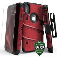 Zizo Bolt Cover - Pancerne etui iPhone X szkłem 9H na ekran + podstawka & uchwyt do paska (Red/Black)
