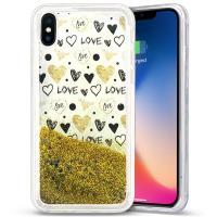Zizo Liquid Glitter Star Case - Etui iPhone X (Hearts)