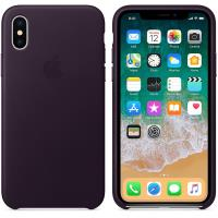 Apple Leather Case - Skórzane etui iPhone X (oberżyna)