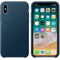 Apple Leather Case - Skórzane etui iPhone X (galaktyczny błękit)