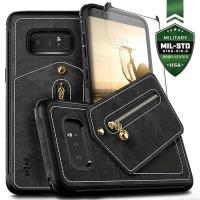 Zizo Nebula Wallet Case - Skórzane etui Samsung Galaxy Note 8 (2017) z kieszeniami na karty + saszetka na zamek + szkło 9H na ekran (Black/Black)