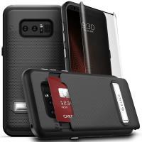 Zizo Click Case - Etui Samsung Galaxy Note 8 (2017) z ukrytą kieszenią na karty + podstawka & szkło 9H na ekran (Black/Black)