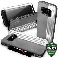 Zizo Retro Series - Etui Samsung Galaxy Note 8 (2017) z kieszenią na karty + podstawka + szkło 9H na ekran (Gray/Silver)