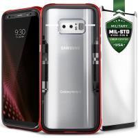 Zizo Shock Case - Pancerne etui Samsung Galaxy Note 8 (2017) z hartowanym szkłem na ekran (Red/Black)