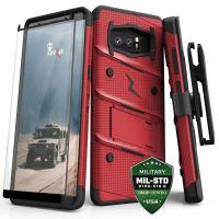 Zizo Bolt Cover - Pancerne etui Samsung Galaxy Note 8 (2017) ze szkłem 9H na ekran + podstawka & uchwyt do paska (Red/Black)