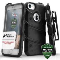 Zizo Bolt Cover - Pancerne etui iPhone 8 / 7 / 6s / 6 ze szkłem 9H na ekran + podstawka & uchwyt do paska (czarny)