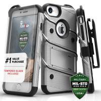 Zizo Bolt Cover - Pancerne etui iPhone 8 / 7 / 6s / 6 ze szkłem 9H na ekran (szary/czarny)