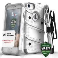 Zizo Bolt Cover - Pancerne etui iPhone 8 / 7 / 6s / 6 ze szkłem 9H na ekran + podstawka & uchwyt do paska (biały/szary)