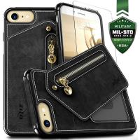 Zizo Nebula Wallet Case - Skórzane etui iPhone 8 / 7 / 6s / 6 z kieszeniami na karty + saszetka na zamek + szkło 9H na ekran (Black/Black)