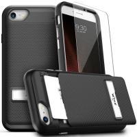 Zizo Click Case - Etui iPhone 8 / 7 / 6s / 6 z ukrytą kieszenią na karty + podstawka & szkło 9H na ekran (Black/Black)