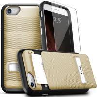 Zizo Click Case - Etui iPhone 8 / 7 / 6s / 6 z ukrytą kieszenią na karty + podstawka & szkło 9H na ekran (Gold/Black)