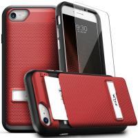 Zizo Click Case - Etui iPhone 8 / 7 / 6s / 6 z ukrytą kieszenią na karty + podstawka & szkło 9H na ekran (Red/Black)