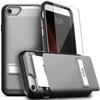 Zizo Click Case - Etui iPhone 8 / 7 / 6s / 6 z ukrytą kieszenią na karty + podstawka & szkło 9H na ekran (Silver/Black)