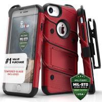 Zizo Bolt Cover - Pancerne etui iPhone 8 / 7 / 6s / 6 ze szkłem 9H na ekran + podstawka & uchwyt do paska (czerwony/czarny)