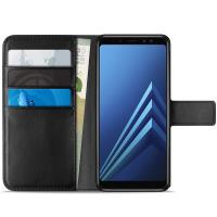 PURO Booklet Wallet Case - Etui Samsung Galaxy A8 (2018) z kieszeniami na karty + stand up (czarny)