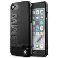 BMW Signature Logo Imprint Case - Skórzane etui iPhone 8 / 7 z wytłaczanym logo BMW (czarny)