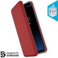 Speck Presidio Folio - Etui Samsung Galaxy S9 z kieszenią na karty + stand up (Heathered Heartrate Red/Heartrate Red/Graphite Grey)