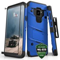 Zizo Bolt Cover - Pancerne etui Samsung Galaxy S9 ze szkłem 9H na ekran + podstawka & uchwyt do paska (Blue/Black)
