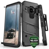 Zizo Bolt Cover - Pancerne etui Samsung Galaxy S9 ze szkłem 9H na ekran + podstawka & uchwyt do paska (Gun Metal Gray)