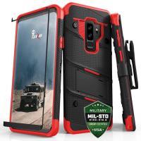 Zizo Bolt Cover - Pancerne etui Samsung Galaxy S9+ ze szkłem 9H na ekran + podstawka & uchwyt do paska (Black/Red)