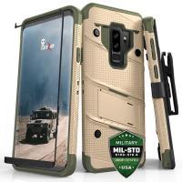 Zizo Bolt Cover - Pancerne etui Samsung Galaxy S9+ ze szkłem 9H na ekran + podstawka & uchwyt do paska (Desert Tan/Camo Green)