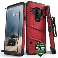 Zizo Bolt Cover - Pancerne etui Samsung Galaxy S9+ ze szkłem 9H na ekran + podstawka & uchwyt do paska (Red/Black)