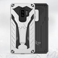 Zizo Static Cover - Pancerne etui Samsung Galaxy S9+ z podstawką (Silver/Black)
