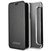 Guess Iridescent Book - Etui iPhone X z kieszeniami na karty (czarny)