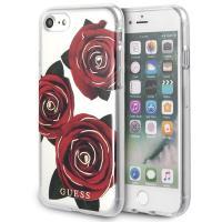 Guess Flower Desire - Etui iPhone 8 / 7  (przezroczysty/czrwony)