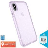 Speck Presidio Clear with Glitter - Etui iPhone X (Gold Glitter/Geode Purple)