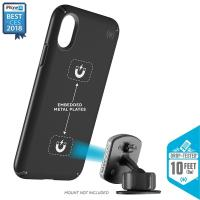 Speck Presidio Mount - Etui iPhone X kompatybilne z uchwytem magnetycznym (Black/Black)