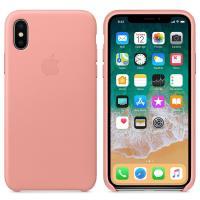 Apple Leather Case - Skórzane etui iPhone X (delikatny róż)
