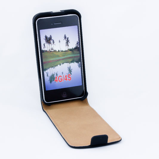 Geffy - Etui iPhone 4s / iPhone 4 Eco Leather flip black