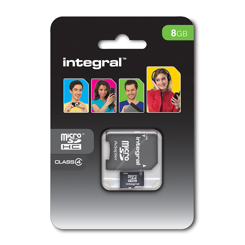 Integral karta pamięci 8 GB micro SDHC Cards Class 4 with Adapter to SD Card